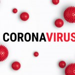 Abstract banner coronavirus strain model from Wuhan, China. Outbreak Respiratory syndrome and Novel coronavirus 2019-nCoV with text on white background. Virus Pandemic banner concept