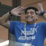 Former soccer players and Argentinian idol Diego Maradona gestures prior the group D match between Argentina and Croatia at the 2018 soccer World Cup in Nizhny Novgorod Stadium in Nizhny Novgorod, Russia, Thursday, June 21, 2018. (AP Photo/Ricardo Mazalan)